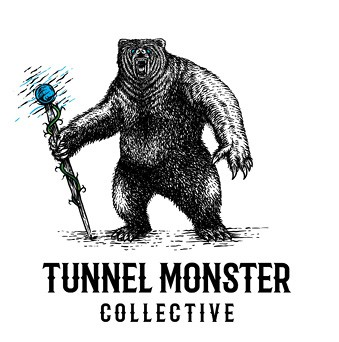 """Dave Knees headshot - words read """"Tunnel Monster Collective"""""""
