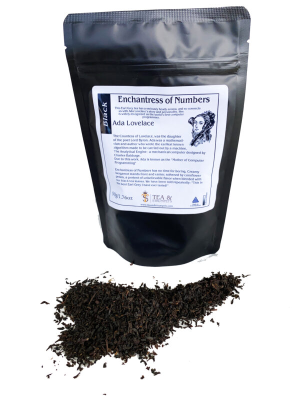 Enchantress of Numbers Earl Grey packaging front with tea spilled