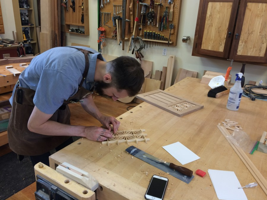 Cory working on the Kumiko design for a Mike Pekovitch-inspired wall cabinet. It is made out of quarter-sawn white oak.