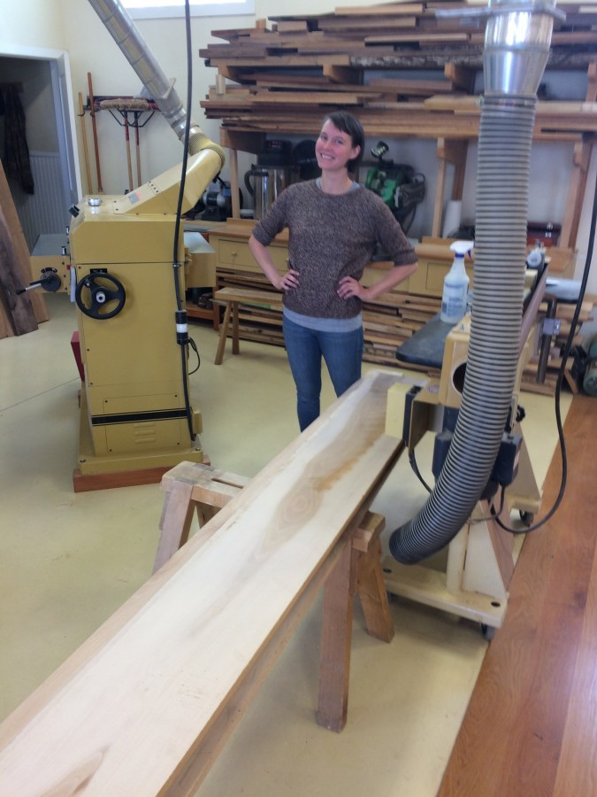 Meet Chantel. She will be building a sideboard of her own design. This is the sycamore lumber she selected for the project.