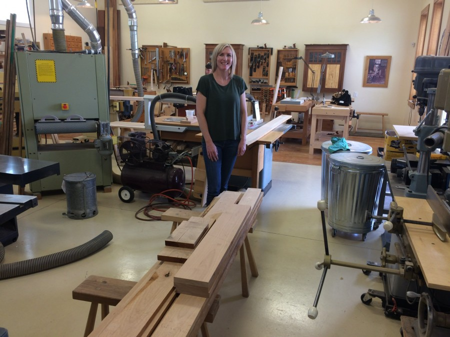 Meet Carrie. She just returned from the hardwood store with alder and spalted cherry for a cabinet she is making.