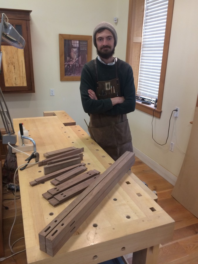 This is Cory. Here he is with the mortise and tenon work for a chest-in-stand he is building.