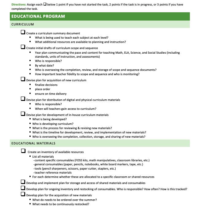 Comprehensive School Readiness Checklist