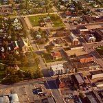 An aerial shot of a city