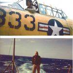 An image of a man riding an aircraft and a ship