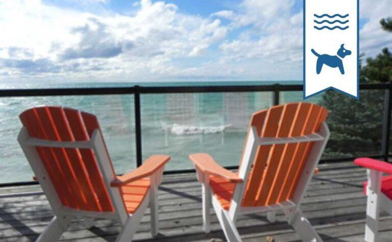 Sundown Sanctuary Lakefront pet friendly Lake Huron cottage rental