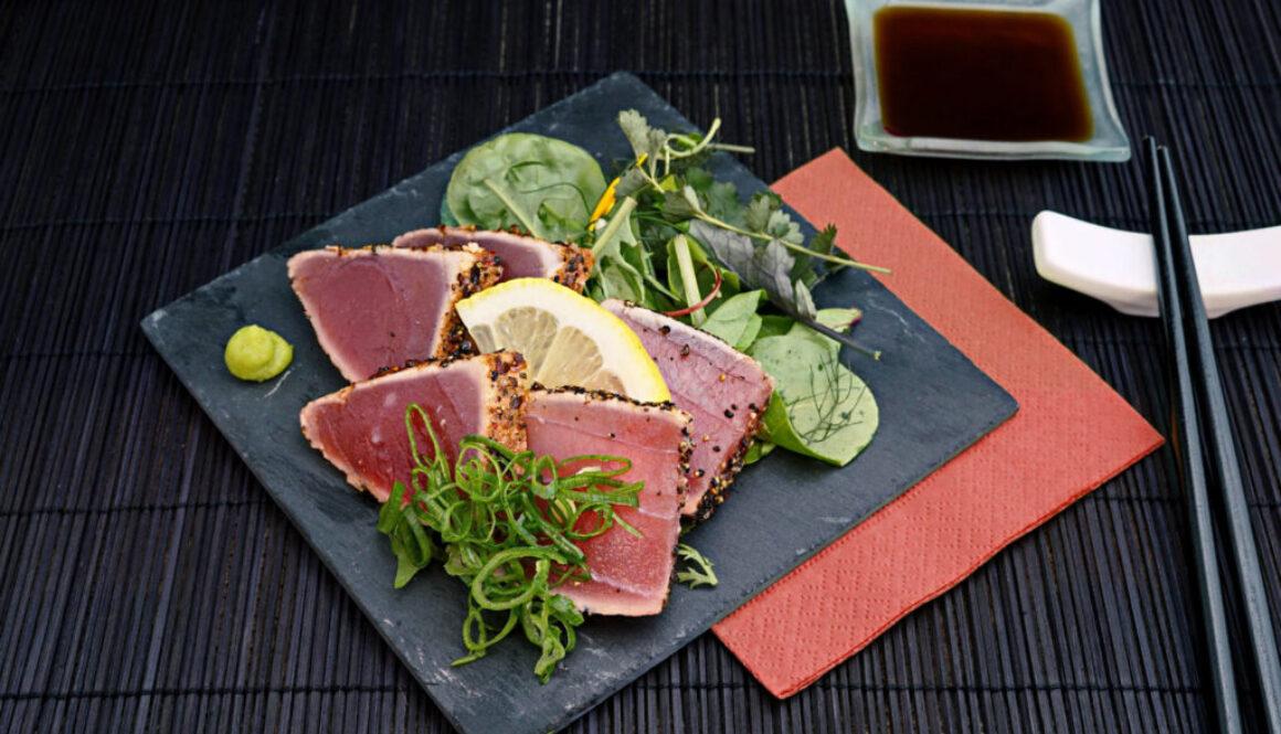 Roasted Maguro Nigiri With Onion Leaf