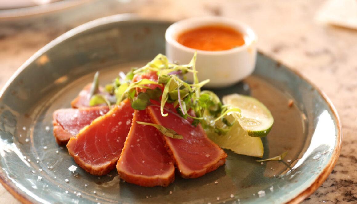 Toro Sushi with Lemon Leaf Topping