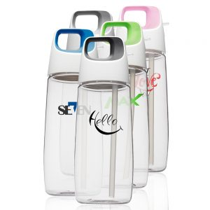 27 oz Accent Cube Water Bottles with Straw APG244