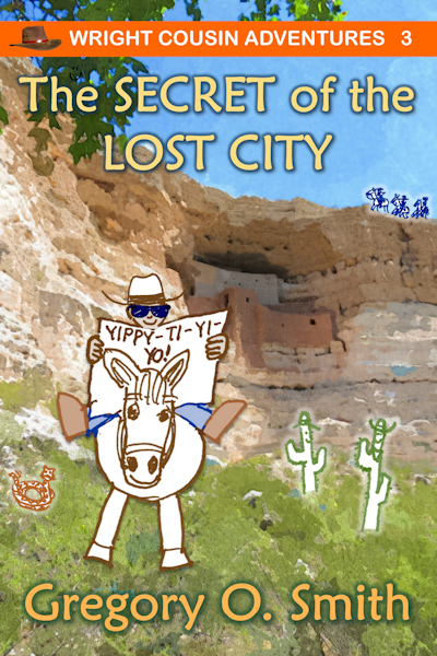 Drawing of cartoon cowboy riding on white horse reading a newspaper. Cliff dwellings are seen in the background with 3 pursuing riders on top of cliff.