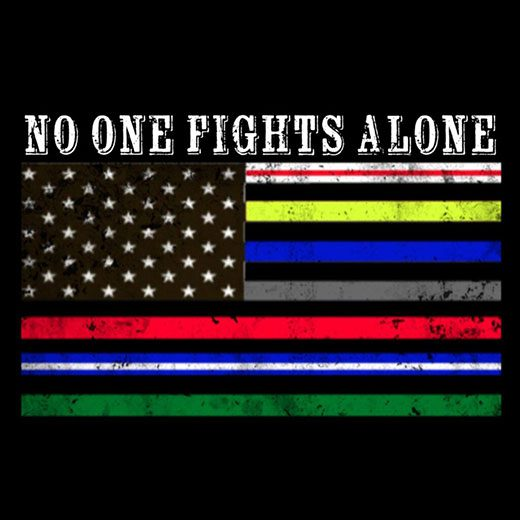 No one fights alone text with flag