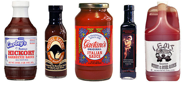Pictures of bottles from Gaetano's Italian Sauces, Aussie Sauces, and Marinades Teàtro Sauces and Vinaigrettes, Curley's Famous Barbecue Sauces