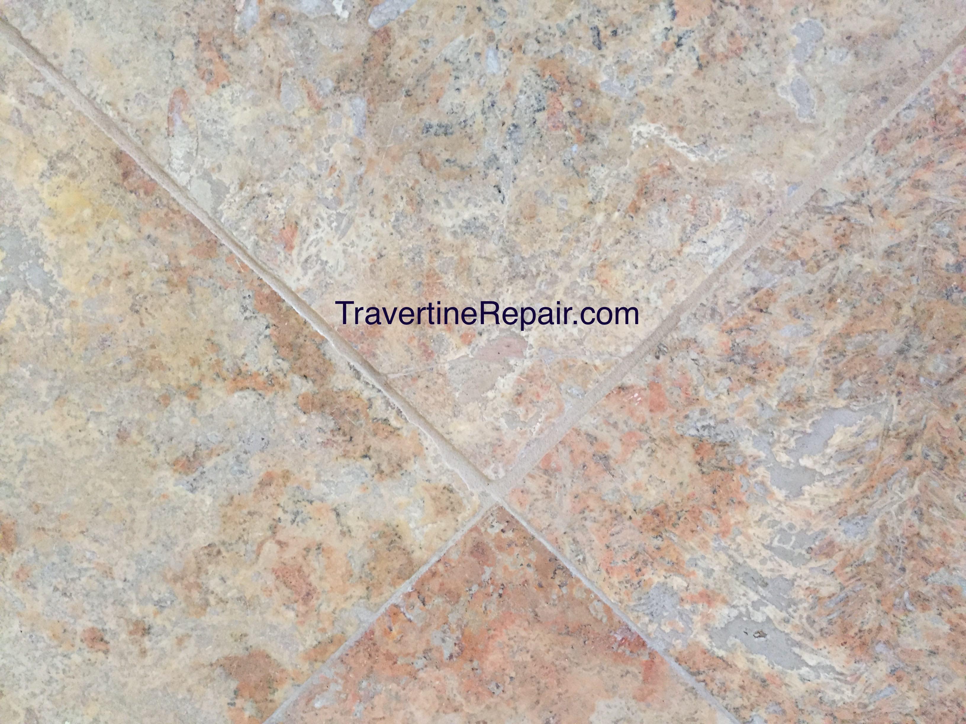 travertine crack after repair