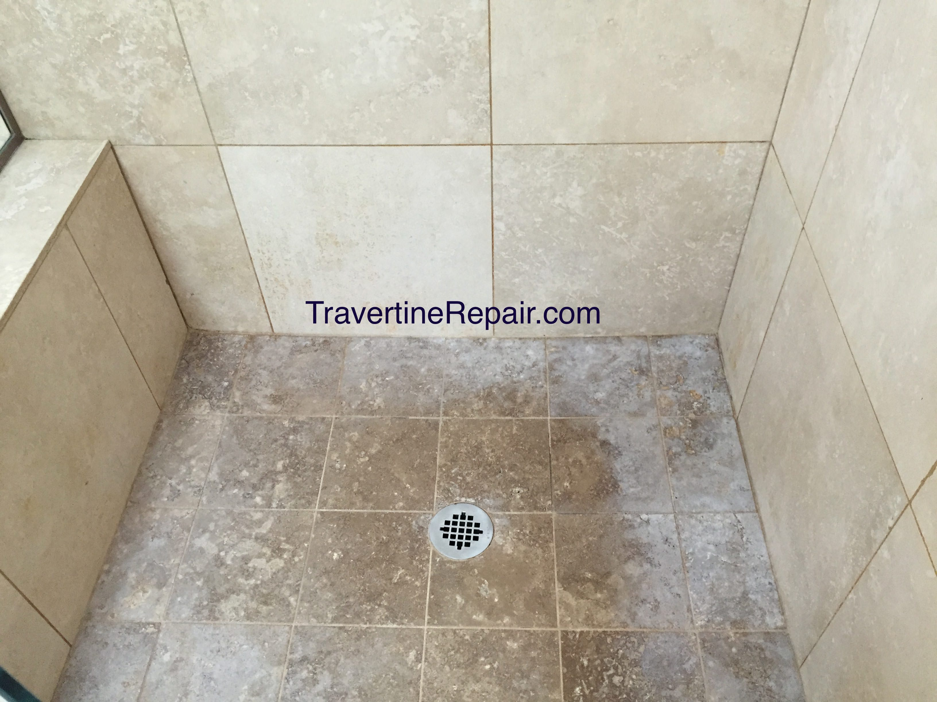 Travertine Shower Before Cleaning & Sealing