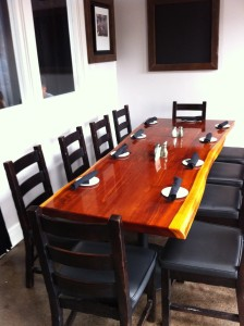 Redwood slab restaurant table