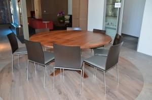 6' round walnut table