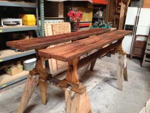 Reclaimed Doug Fir benches