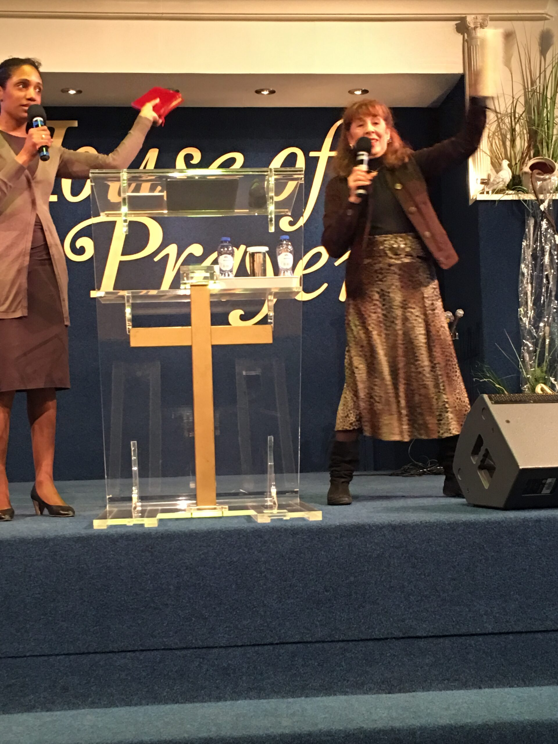 Pastor Susan preaching in Marantha Ministries, in Amsterdam