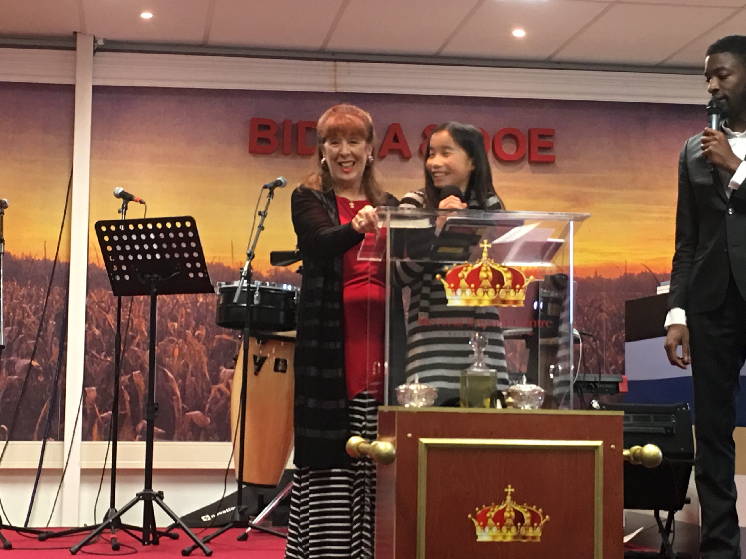 Susan and Autumn preaching in the Netherlands