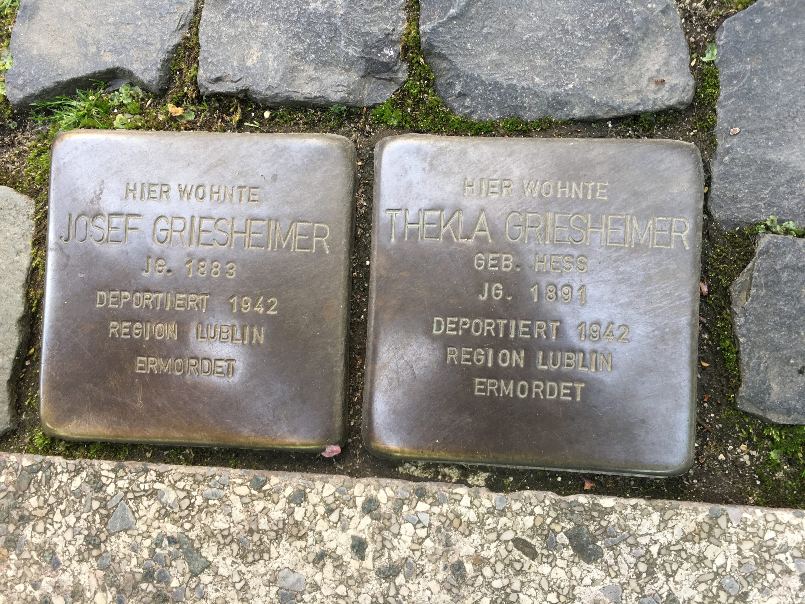 Two stones at the entrance of the house, family members that died in the Holocaust