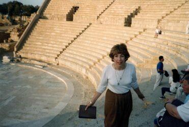 Caesarea - Pastor Susan preaching in the amphitheatre