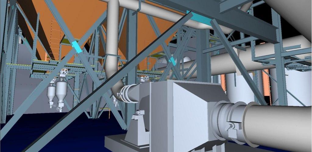 3d scan detail of a model boiler area