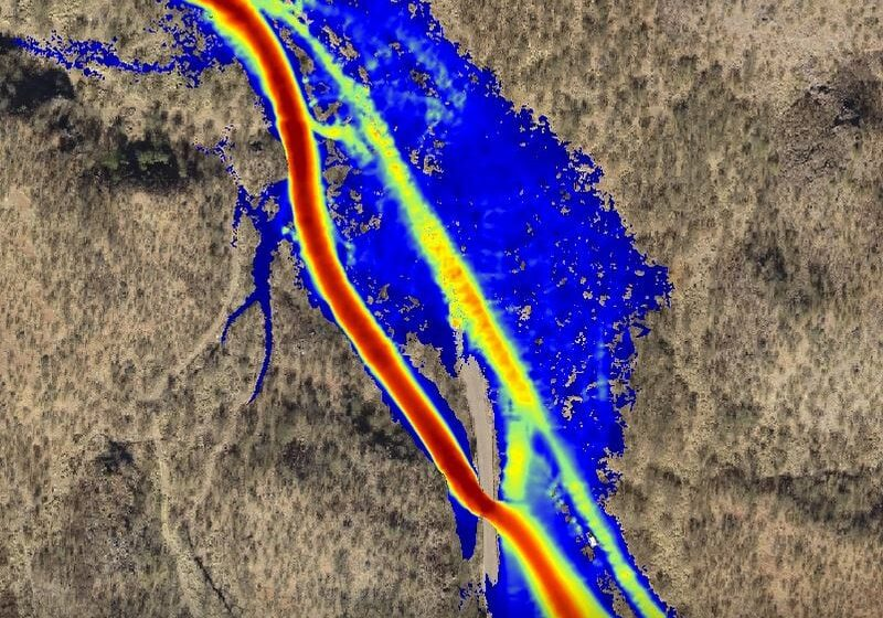 aerial view of flood simulation