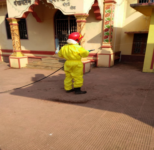 Sanitization of Village. Public places during Covid-19