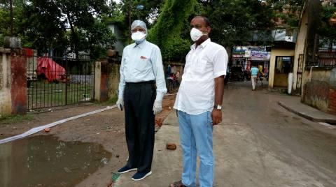 आरा सदर अस्पताल परिसर में जल जमाव से निजात के लिए लगाया गया पम्प सेट