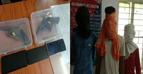 JDU-leader-firing-murder-liners-arrested-Weapons