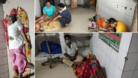 Patient on the floor of Ara Sadar Hospital