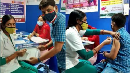 Before-Tika-टिका लेने से पहले महिला स्वास्थ्य कर्मी को फेस शिल्ड एवं डायरी देकर किया सम्मानित