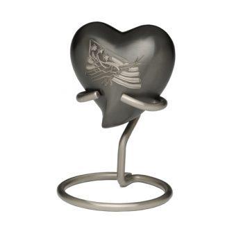American Eagle and Flag Brass Urn – Heart Keepsake – B-1919-H