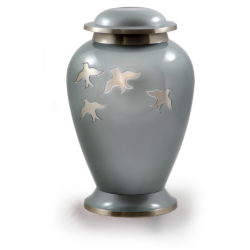 Avondale Brass Urn with Birds in Flight in Beautiful Pearl Gray – Adult – B-1611-A