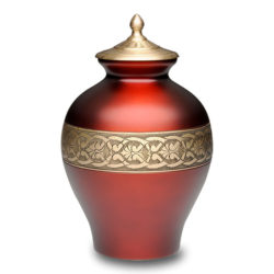 Beautiful Cherry Red Brass Cremation Urn – Adult – B-1671-A