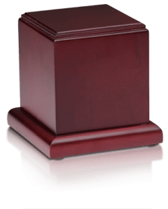 Birch Wood Cube Cremation Urn with Cherry Finish – Medium – HB-106-CHERRY