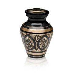 Black & Golden Brass Hand-Etched Cremation Urn – Keepsake – B-1570-K-NB