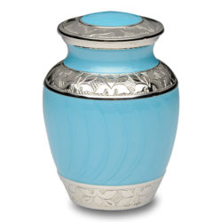 Blue Enamel and Silver Color Cremation Urn – Extra Small – B-1528-XS-BB