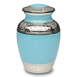 Blue Enamel and Silver Color Cremation Urn – Small – B-1528-S-BB