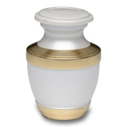 Brass Cremation Urn – White – Keepsake – B-2257-K-NB