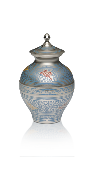 Brass Cremation Urn in Blue and Silver Colors with Butterflies – Medium – B-1689-M-BB