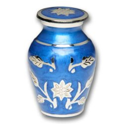 Brass Cremation Urn in Blue with Flowers – Keepsake – B-1500-K-B-NB