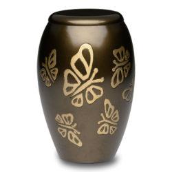 Brass Cremation Urn in Metallic Bronze with Golden Butterflies – Adult – B-2401-A