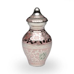 Brass Cremation Urn in Pink and Silver Colors with Butterflies – Keepsake – B-1689-K-P-NB