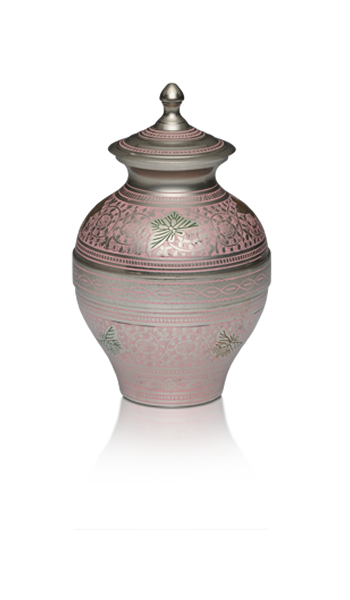 Brass Cremation Urn in Pink and Silver Colors with Butterflies – Medium – B-1689-M-P