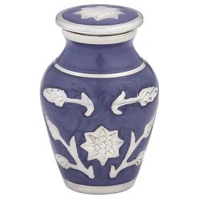Brass Cremation Urn in Purple with Flowers – Keepsake – B-1500-K-P-NB