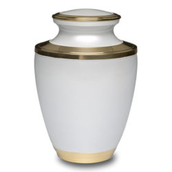 Brass Cremation Urn in White with Brass Band – Adult – B-2257-A
