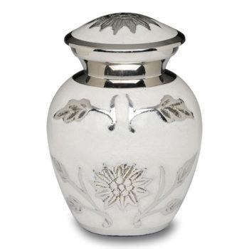 Brass Cremation Urn in White with Flowers – Keepsake – B-1500-K-W-NB
