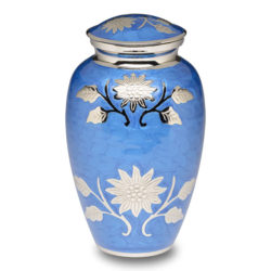 Brass Cremation Urn with Flowers - Blue - Adult – B-1500-A-B