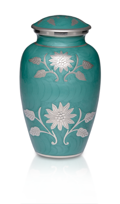 Brass Cremation Urn with Flowers - Green - Adult – B-1500-A-G